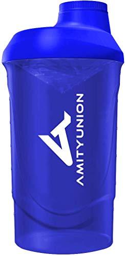Proteïneshaker 800 ml met zeef - Luxe fitnessbeker - Proteïneshaker lekvrij - BPA-vrij, Met schaal voor romige weiproteïnepoeder-shakes, proteïne-isolaat en BCAA-concentraten in donkerblauw