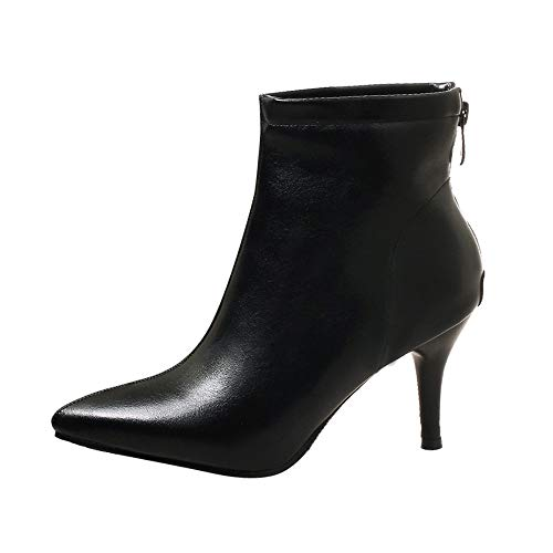 MRULIC Damen Stiletto Stiefel Pointed-Toe Schuhe Zipper High Heel Short Plüsch Mode Stiefeletten Streetwear Pumps(Schwarz,35 EU)