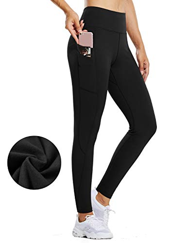 BALEAF Women's Fleece Lined Water Resistant Legging High Waisted Thermal Winter Hiking Running Tights Pockets Black Large