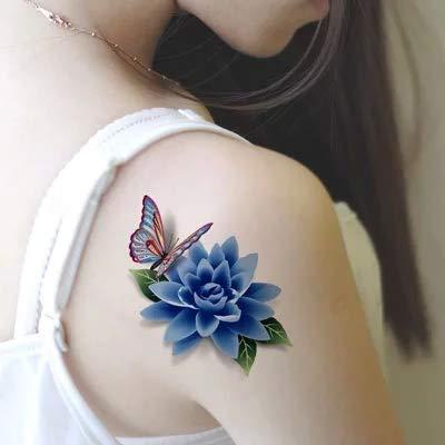 Stereoskopische blume wasserdicht tattoo paste weiblichen schmetterling lotus 3d langlebige realistische narbe tattoo stick