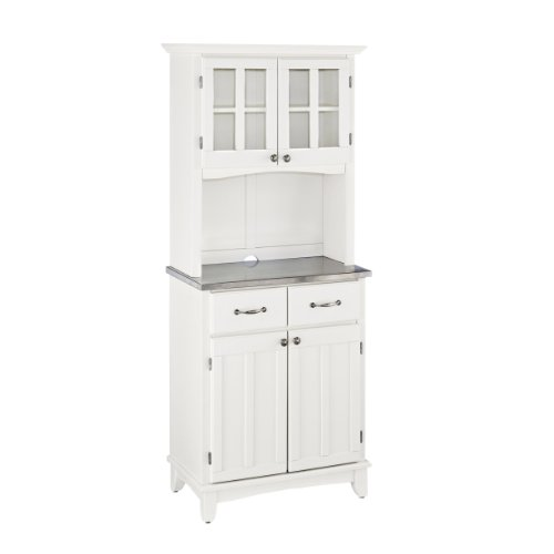 Homestyles White Buffet Stainless Steel Top with Hutch by Home Styles