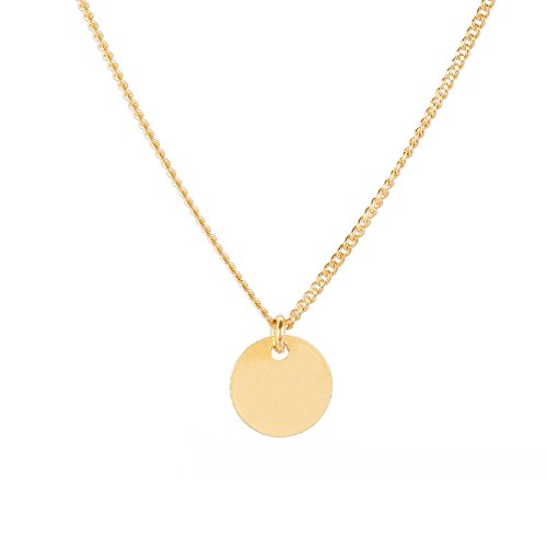 TomShot Halskette Damen runder Anhänger - Goldkette Goldplättchen Kreisanhänger Hochglanz vergoldet Variable Kettenlänge - 79ke3312g