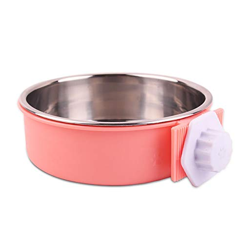 Mageelian Haustier-Katze-Edelstahl-Wasser-Hundenapf-Schalen-Platte (Farbe : Rosa, Size : Smell Without Stainless)