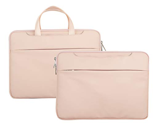 LuvCase Laptop Leather Sleeve Case Protective Bag with Pocket Handle Compatible MacBook Pro 15-16 Inch, A2141/A1707/A1990/A1398/A1286, Chromebook, Acer, Thinkpad HP Notebook (Pink)
