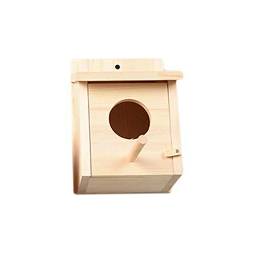 Eleusine Vogelhaus, Massivholz-Vogelhaus, wetterfestes Vogelhaus-Design, leicht zu reinigen, Sicherheitsschloss, Entlüftung, Kaminnut (Holzfarbe)