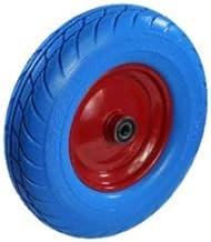 Schuimd polyurethaanwiel Ø 400 mm stalen velg blauw 4.00-8