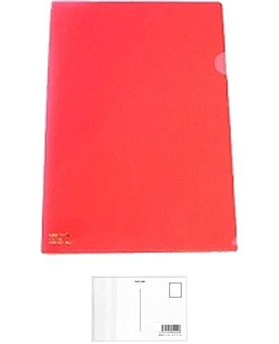【まとめ買い】リヒトラブ カラークリヤーホルダー A4 赤 F-78-3 5枚 + 画材屋ドットコム ポストカードA