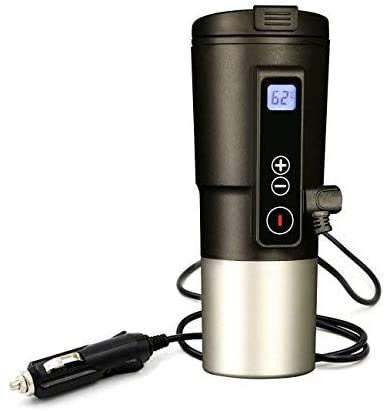 Smart Temperature Control Travel Coffee Mug EAST MOUNT Electric heated Travel Mug 12V Stainless Steel Tumbler Smart Heating Car Cup Keep Milk Warm LCD display Easily Washing Safe for use (Black)