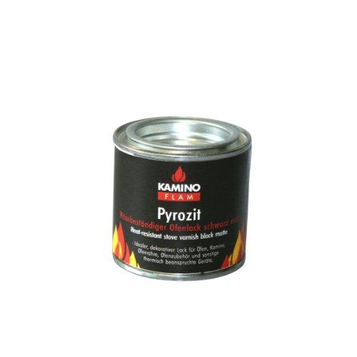 Kamino-Flam Ofenlack 333332 für den Innen- und Außenbereich, die Farbschicht ist hitzebeständig bis ca. 450°C, schwarze Farbversiegelung in einer wiederverschließbaren Dose, die Dose hat einen Inhalt von ca. 100 ml und lässt sich luftdicht schließen, die Maße der Dose beträgt ca. H 5,5 x Ø 5,5 cm