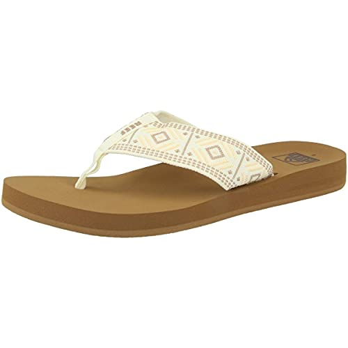 Reef womens Sandals Spring Woven | Arch Support Flip Flops for Women, VINTAGE WHITE, 10 US medium