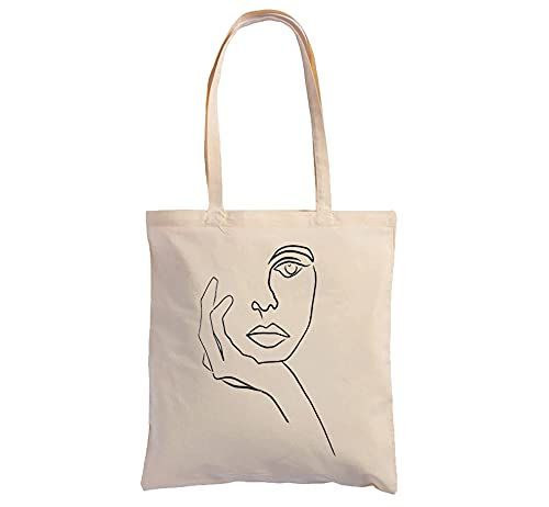 Hole Gadget S.r.l Shopping Bag Cotone 100% in Tela Naturale Ecosostenibile, Shopper Tote con Illustrazioni Pittoriche e Stampe Made in Italy (Donna)