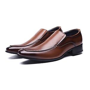 [ジョーマリノ] Jo Marino 日本製 本革 メンズ ビジネスシューズ 紳士靴 メンズ ローファー スリッポン ドレスシューズ 防滑 6612 (27, ブラウン)