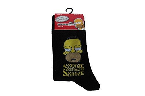 socksPur 1 PAAR_ The Simpsons_Lizenz-Computersocken. Dessin Motive vorsortiert. (39-45, Gr&farbe schwarz: SNOOZE)