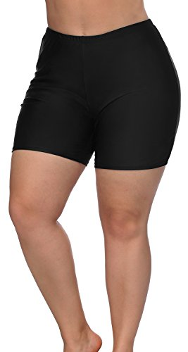 Sociala Black Bathing Suit Bottoms for Women Plus Size Tummy Control Swim Shorts
