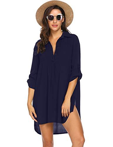 Ekouaer Women's Bikini Beachwear Bathing Suit Cover Ups Beach Dress Navy Blue