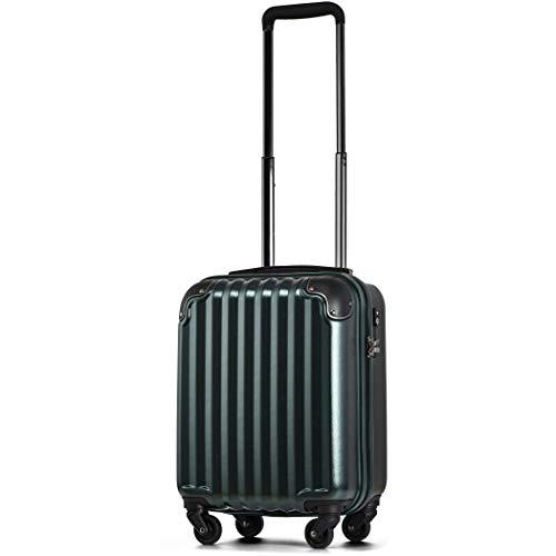 【JP Design】スーツケース キャリーケース キャリーバッグ 超軽量 tsaロック 静音キャスター4輪 機内持込 二枚仕切り ハードキャリー ファスナー (SS, グリーン/BK-ss)