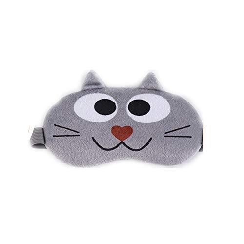 Neaer 1 máscara de dormir de algodón con dibujos animados para dormir, ideal para viajes y descanso, banda de ojos para niños, parche de sombra de ojos (color: gris)