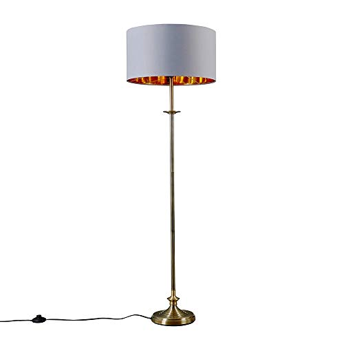 Traditional Style Antique Brass Sconce Floor Lamp with a Grey/Gold Drum Shade - Complete with a 6w LED Bulb [3000K Warm White]