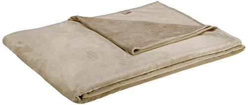 Amazon Basics Velvet Plush Throw Manta suave con tacto de terciopelo, arena, 229 x 274cm