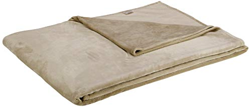 Amazon Basics Velvet Plush Throw Manta suave con tacto de terciopelo, arena, 229 x 274cm