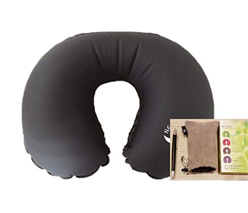 NewlineNY Inflatable TPU Travel Neck Pillow (Dark Grey) with Drawstring Carrying Pouch
