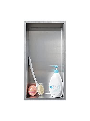 Neodrain Duschnische Edelstahl gebürsteter Innen Eingelassene Wandnische Duschablage Randlos Keine Fliesen erforderlich 15cm*30cm*10cm für Badezimmerablage
