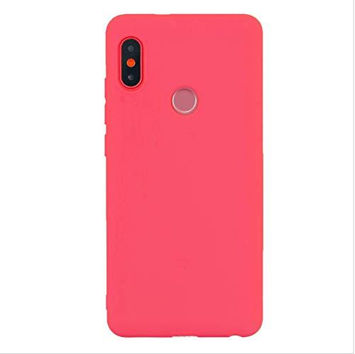 cuzz Funda para Xiaomi Redmi Note 6 Pro+{Protector de Pantalla de Vidrio Templado} Carcasa Silicona Suave Gel Rasguño y Resistente Teléfono Móvil Cover-Rojo