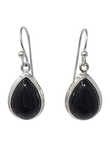 TreasureBay Stunning 925 Silver and Natural Gemstone Dangle Earrings, Women Earrings, Girl Earrings (Black Agate 2)