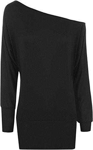 WearAll - Damen einfach aus Schulter 'Batwing' Tunika Langarm Top - Schwarz - 40-42