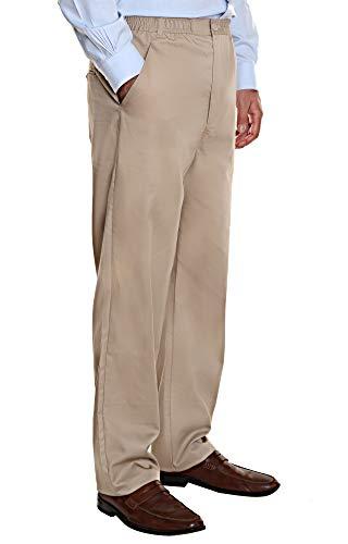 Ruxford Elastic Waist Pants for Men | Stretch Twill Casual Comfort Dress Slacks Tan