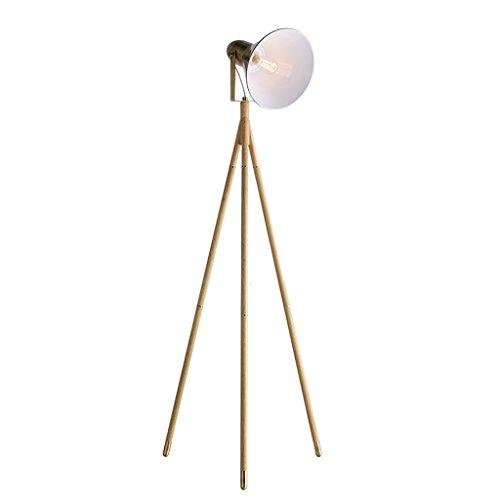 Lampe standard moderne et minimaliste Lampadaire trépied en bois en métal pour l'étude Salon Chambre chevet industriel Concise Style créatif rétro avec interrupteur au pied Bronze Luminaires décorat