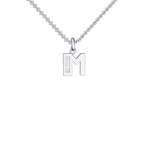 Buchstabenkette M Silber Buchstabenanhänger M Zirkonia - inkl. Luxusetui + - Buchstabe M Kette Buchstabe M Buchstabenanhänger Buchstaben Anhänger Silber Zirkonia FF40 SS925ZIFA45