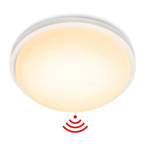 LZQ LED Deckenleuchte mit Bewegungsmelder 15W Radar Sensor Deckenlampe, IP44 1500lm für Flur, Treppe, Veranda, Garage, Carport, Balkon, Abstellraum φ22cm Rund - Warmweiß, 2800-3200k