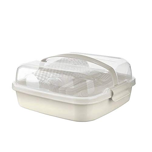 BEFA Picknick Set 6 Personen   BPA Freies Gesundes Plastik   Plastikbesteck Gabel, Messer, Löffel, Teller, Becher, Salzstreuer   Picknickkorb   Picknicktasche (Beige)