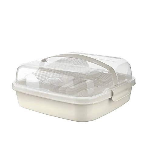 BEFA Juego de picnic para 6 personas, plástico saludable, tenedor, cuchillo, cuchara, plato, vaso, salero, cesta de pícnic, bolsa de picnic (beige)