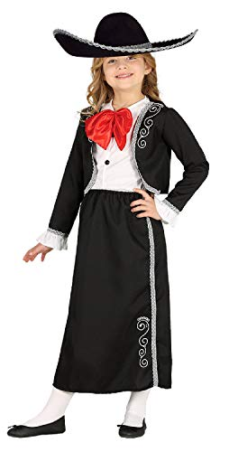 Girls Long Traditional Mexican Mariachi Orchestra Performer Spanish Carnival Fiesta Fancy Dress Costume Outfit 5-12 Years (7-9 Years) Black