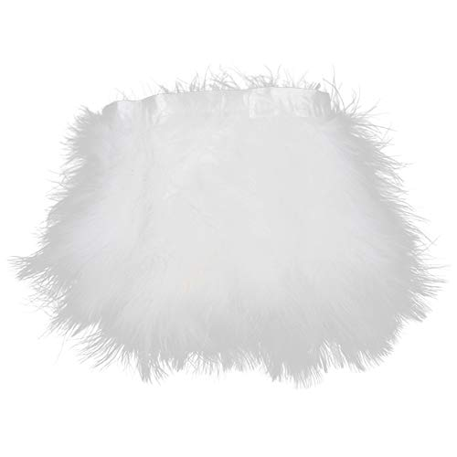AWAYTR Turkey Marabou Hackle Fluffy Feather Fringe Trim Craft 6-8 inches Width Pack of 2 Yards(White)