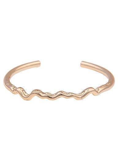 Leslii Damen-Armband Classic Welle schmaler-Armreif glänzender Armschmuck goldenes Modeschmuck-Armband in Gold Hochglanz
