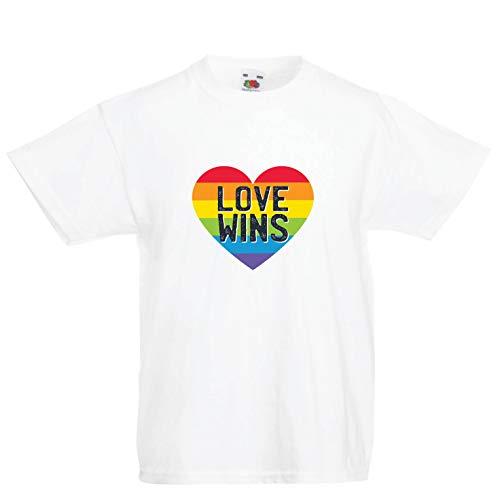 lepni.me Camiseta para Niño/Niña El Amor GANA, el Orgullo, el corazón del Arco Iris - Día de San Valentín (5-6 Years Blanco Multicolor)