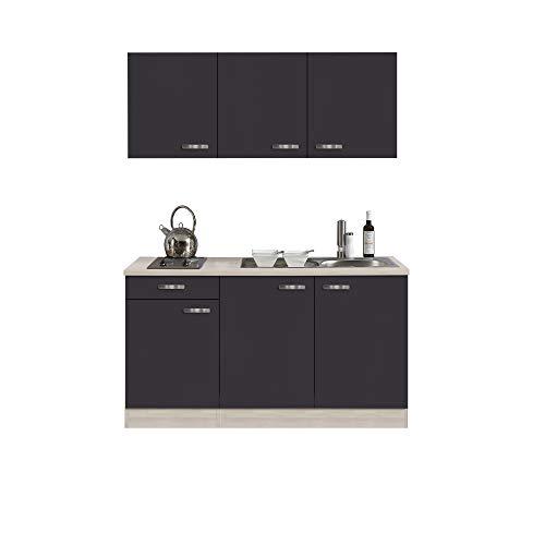 Singleküche BARCELONA | Miniküche mit Elektro-Kochfeld und Spüle | Breite 150 cm | Grau/Akazie mit Echtholzstruktur