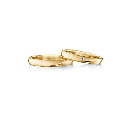 AnazoZ Promise Rings Set 18K Gold Diamond 0.03ct Wedding Band Set Anniversary Rings Women Size L 1/2 & Men Size O 1/2