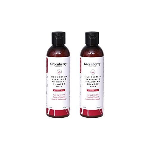 Greenberry Organics Silk Protein, Keratin & Vitamin B-5 Shampoo with Blended Oils for Hair Fall Control, Dandruff Control, Reduced Hair Damage - 200 ML Pack Of 2