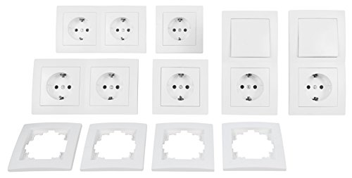 MC POWER - FLAIR - Wand Steckdosen und Schalter Set | Standard | 20-teilig | weiß, matt