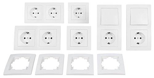 MC POWER - FLAIR - Wand Steckdosen und Schalter Set mit Kindersicherung | Standard | 20-teilig | weiß, matt