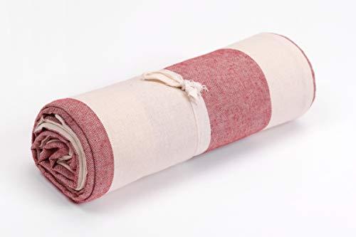 HomeLife | Tagesdecke Bettüberwurf | gestreift in Bordeauxrot/Beige | 260 x 280 cm | weiche Mehrzweck Baumwolldecke und Bettdecke für Doppelbetten | schöner Sofabezug und Couch Überzug