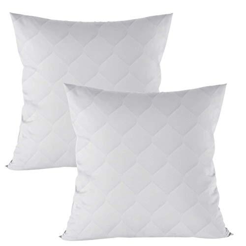 Kopfkissen 80x80 cm Steppkissen Mikrofaser - Kissen für Allergiker füllkissen Bettkissen Schlafkissen weiß Pillow 80 x 80 cm (Weiß, 2 er Set 80 x 80 cm)