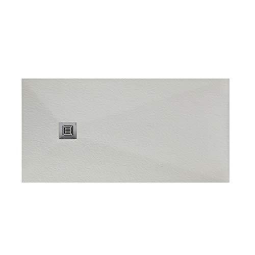 Plato de ducha rectangular de 200 x 80 x 3 centímetros, con válvula de desagüe, colección Suite N, color perla (Referencia: 6348926)