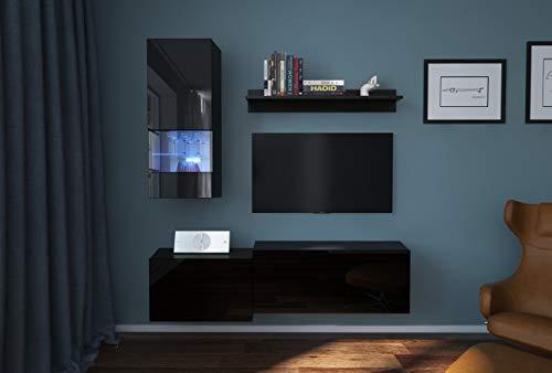 Home Direct Modena N290 Schwarz Modernes Wohnzimmer Wohnwand Wohnschrank Schrankwand Möbel Mediawand (AN290-17B-HG20 1A klein, Led RGB (16 Farben))