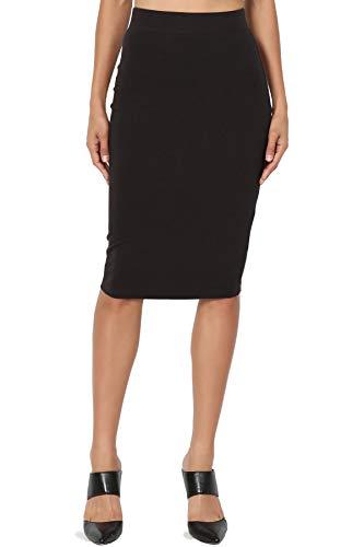 TheMogan Junior's Stretch Cotton Elastic High Waist Pencil Midi Skirt Black L