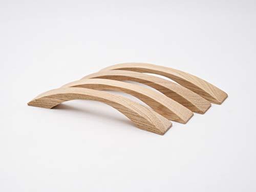 4 Stk Möbelgriffe aus Eiche inkl.Beschlag | Oberfläche unbehandelt | Schubladengriff/Türgriff aus Eiche, Länge 17,5 cm, Bohrabstand 12,8 cm (Eiche unbehandelt)